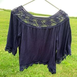 Tops - Navy blouse with lace details